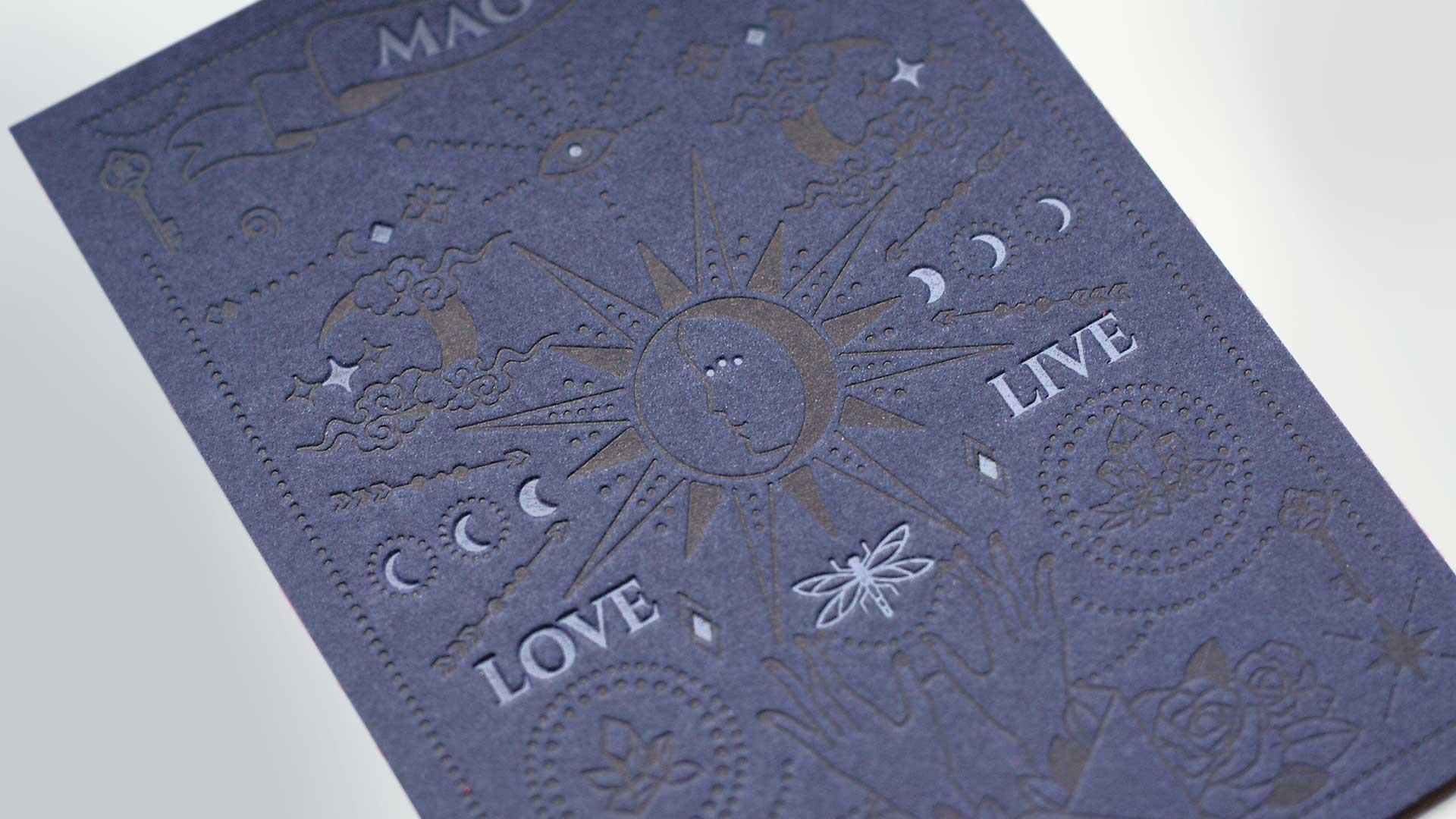 letterpresskarte 2 farbig gmund blue cotton